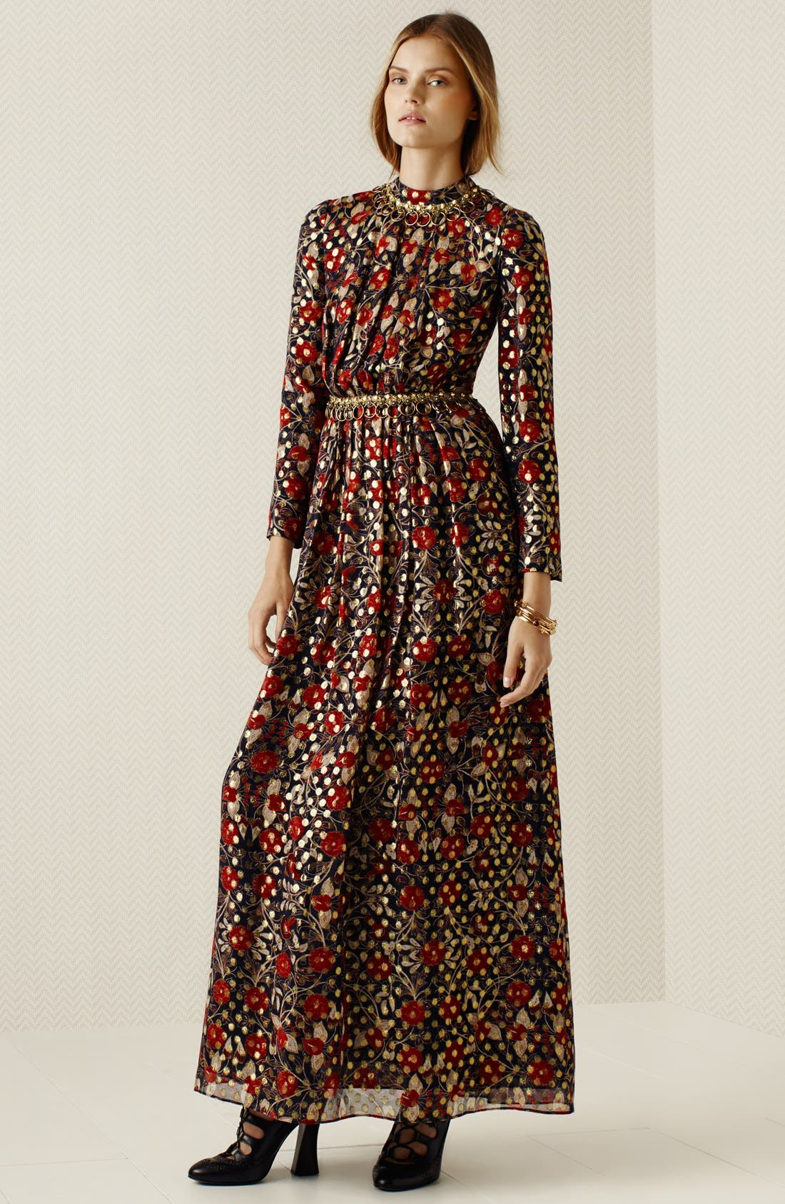 'Leane' Floral Print Embellished Gown,                             Alternate thumbnail 4, color,