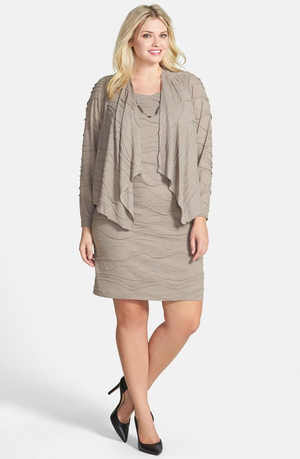 Jessica Howard Mock Jacket Dress With Attached Necklace Plus Size