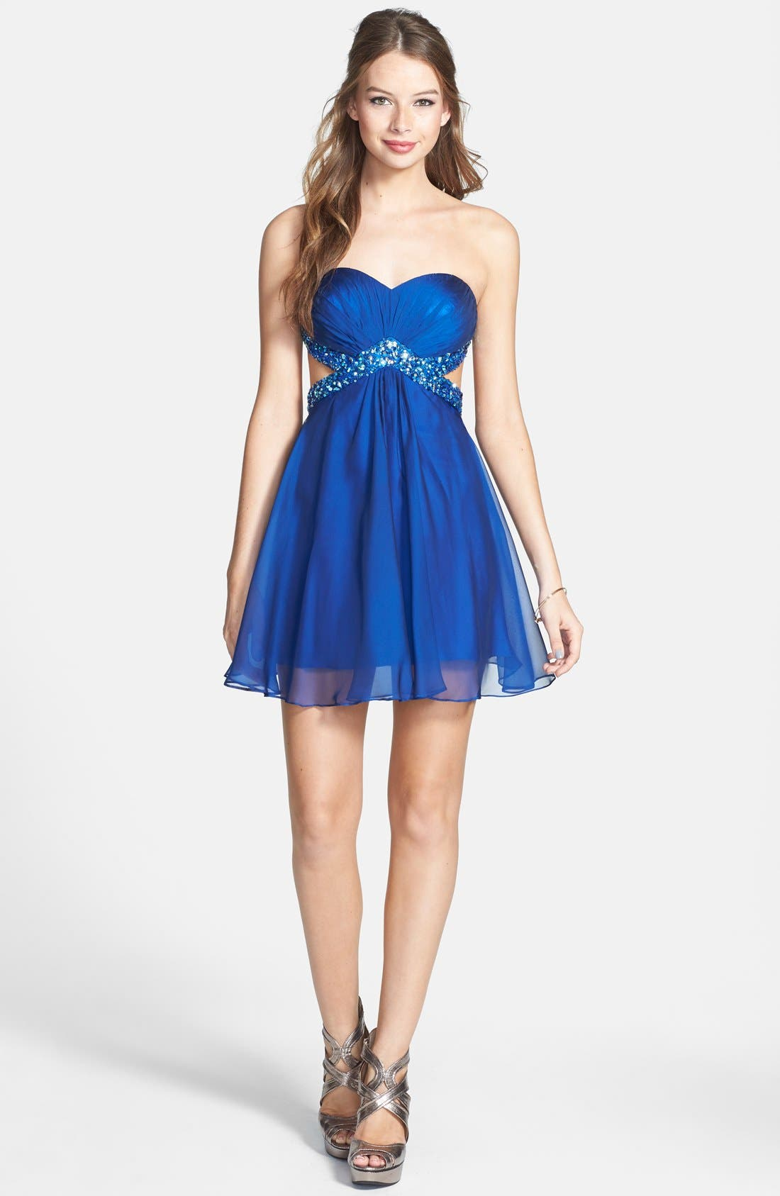 Alternate Image 3  - La Femme Embellished Cutout Chiffon Fit & Flare Dress