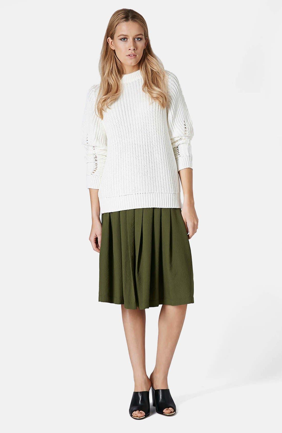 Alternate Image 4  - Topshop Seersucker Midi Skirt