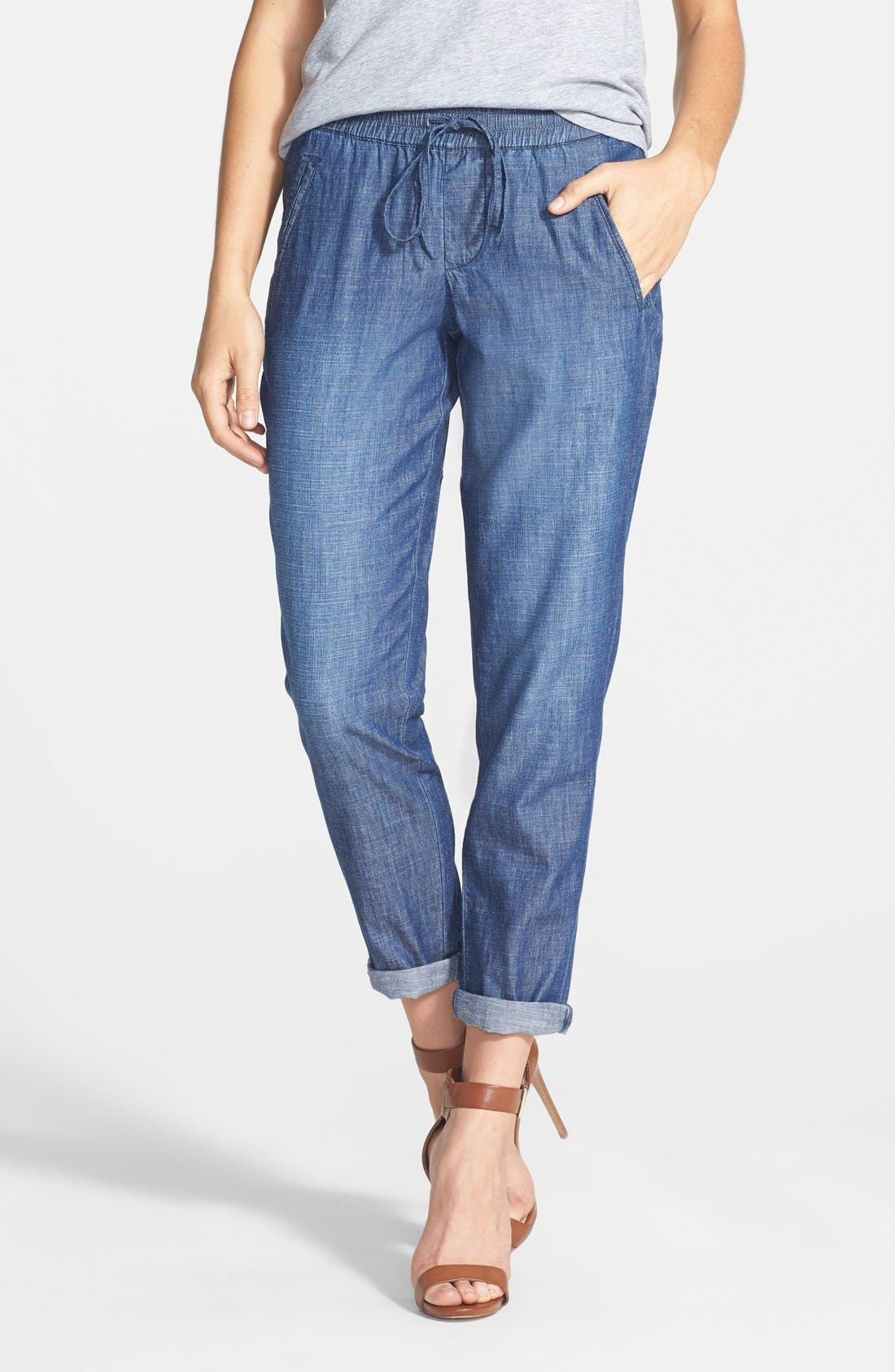 Alternate Image 1 Selected - Christopher Blue 'Goldie' Chambray Drawstring Pants