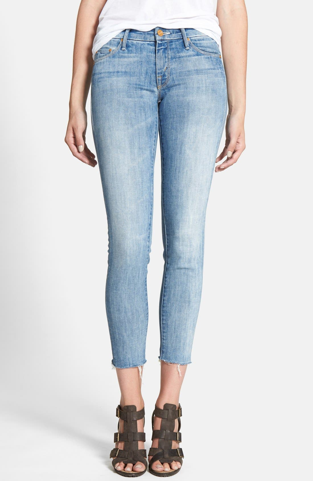 Main Image - MOTHER 'The Looker' Frayed Crop Skinny Jeans (Spreading Rumors)