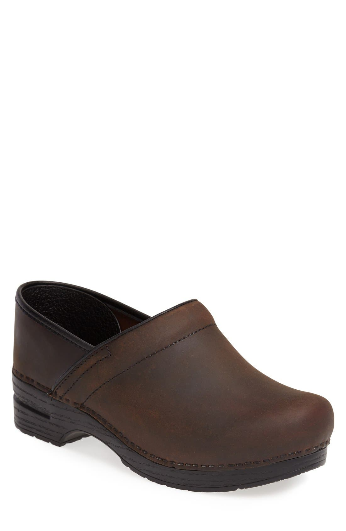 'Pro' Clog,                         Main,                         color, Antique Brown Oiled