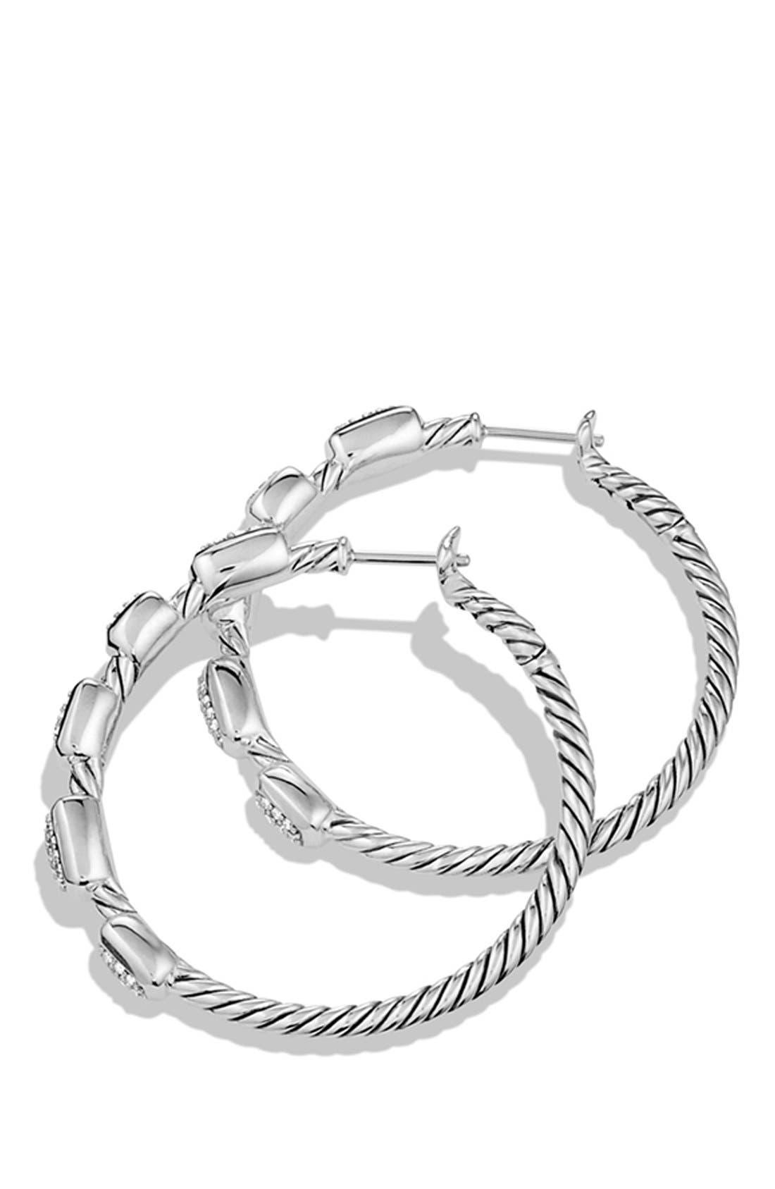 'Confetti' Hoop Earrings with Diamonds,                             Alternate thumbnail 2, color,                             Diamond
