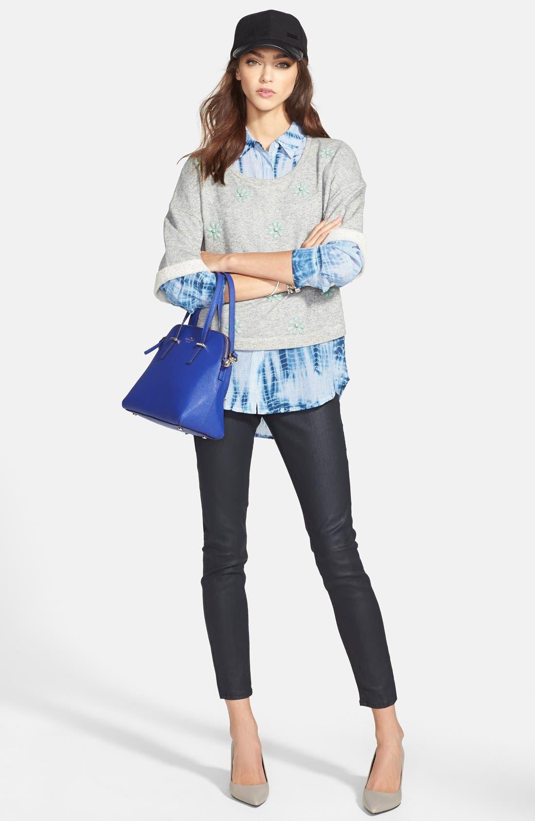 Alternate Image 4  - Chaus Tie Dye Print Roll Sleeve Cotton Shirt