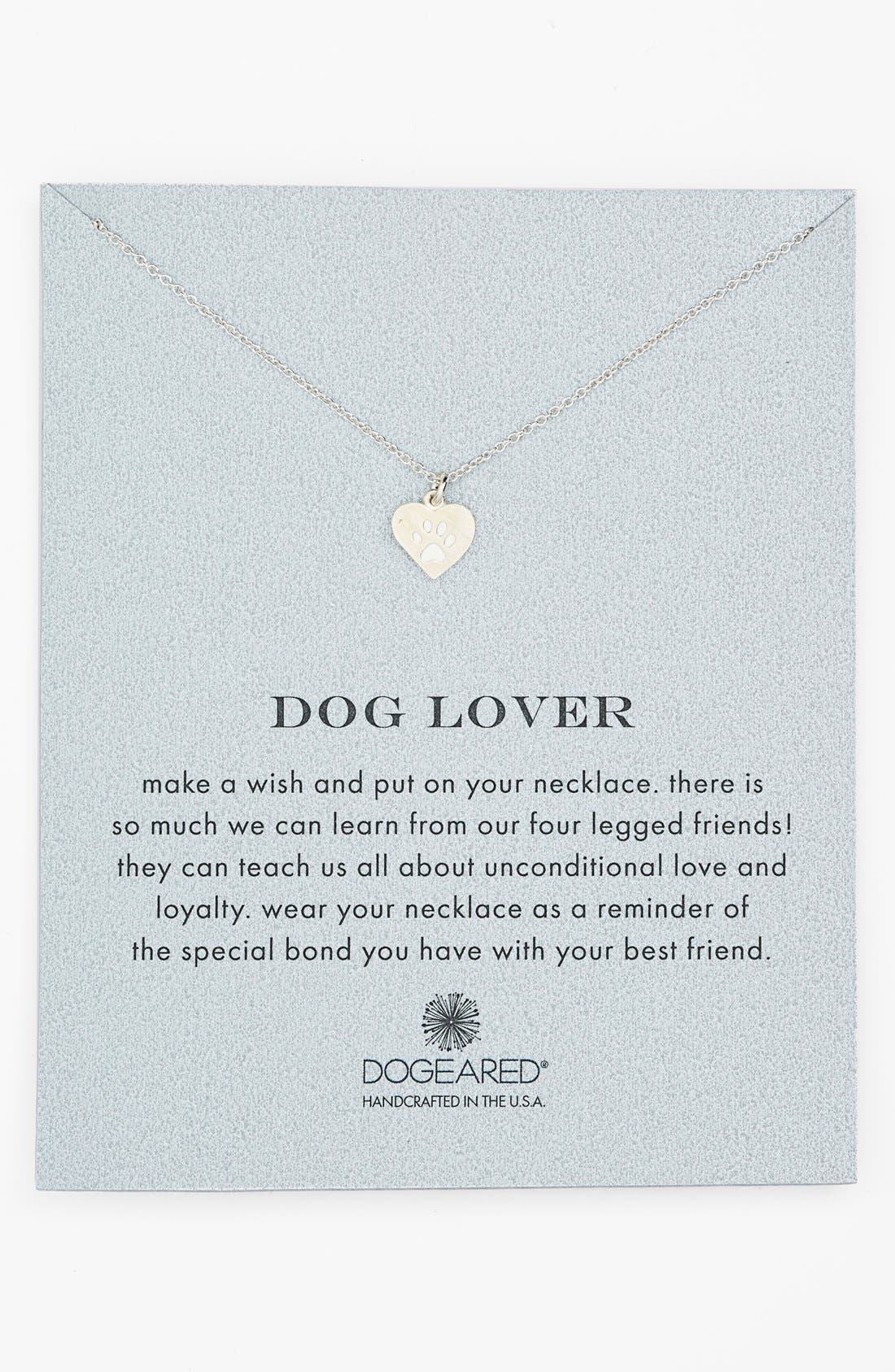 Main Image - Dogeared 'Reminder - Dog Lover' Boxed Pendant Necklace