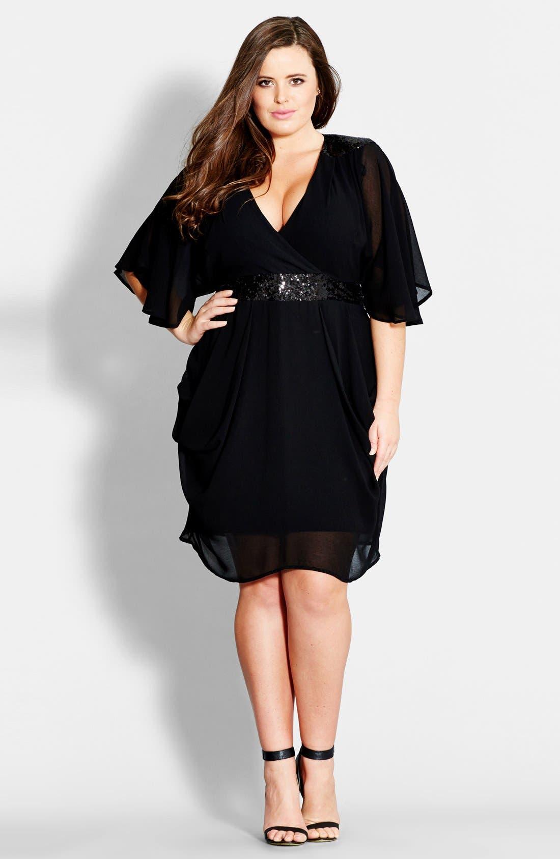 Sequin Wrap Front Dress,                             Main thumbnail 1, color,                             Black