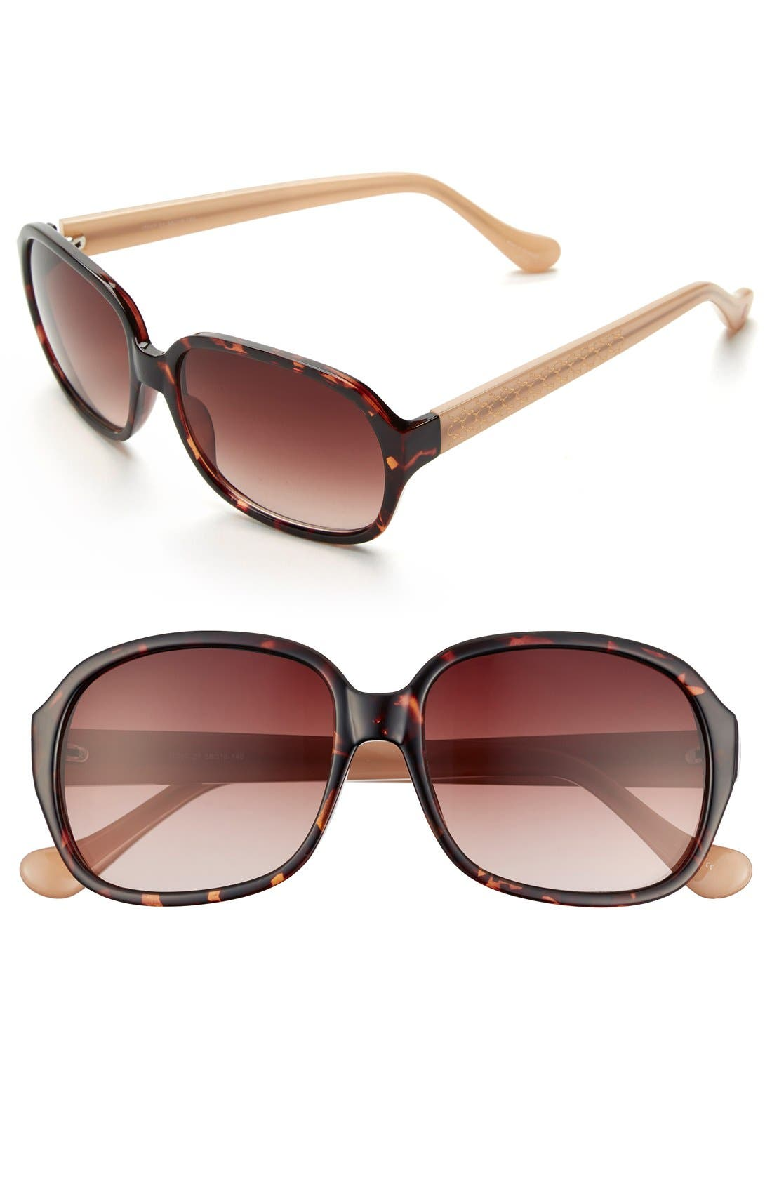 60mm Sunglasses,                         Main,                         color, Dark Tortoise