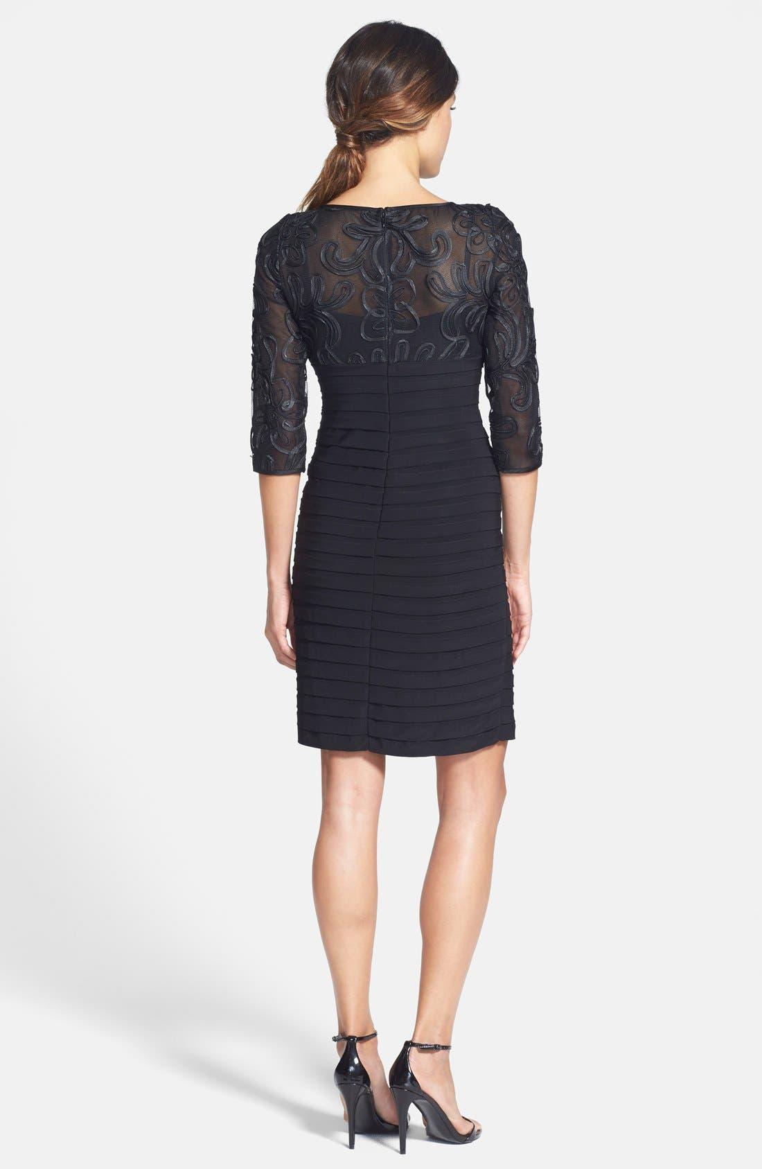 Soutache Shutter Pleat Sheath Dress,                             Alternate thumbnail 2, color,                             Black