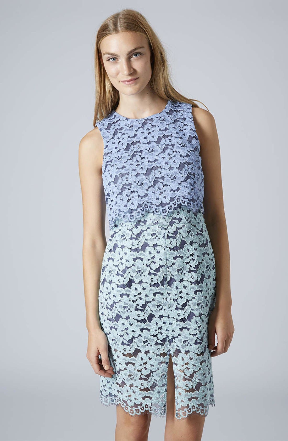 Alternate Image 1 Selected - Topshop Two Tone Lace Midi Dress