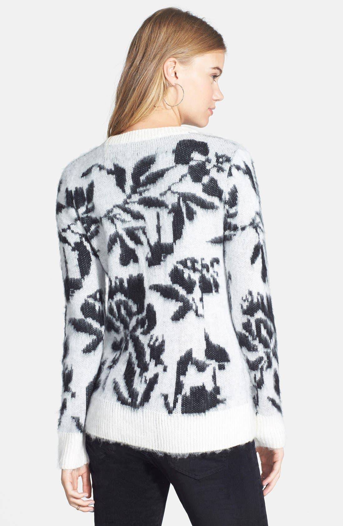 Alternate Image 2  - Woven Heart Rose Sweater (Juniors)