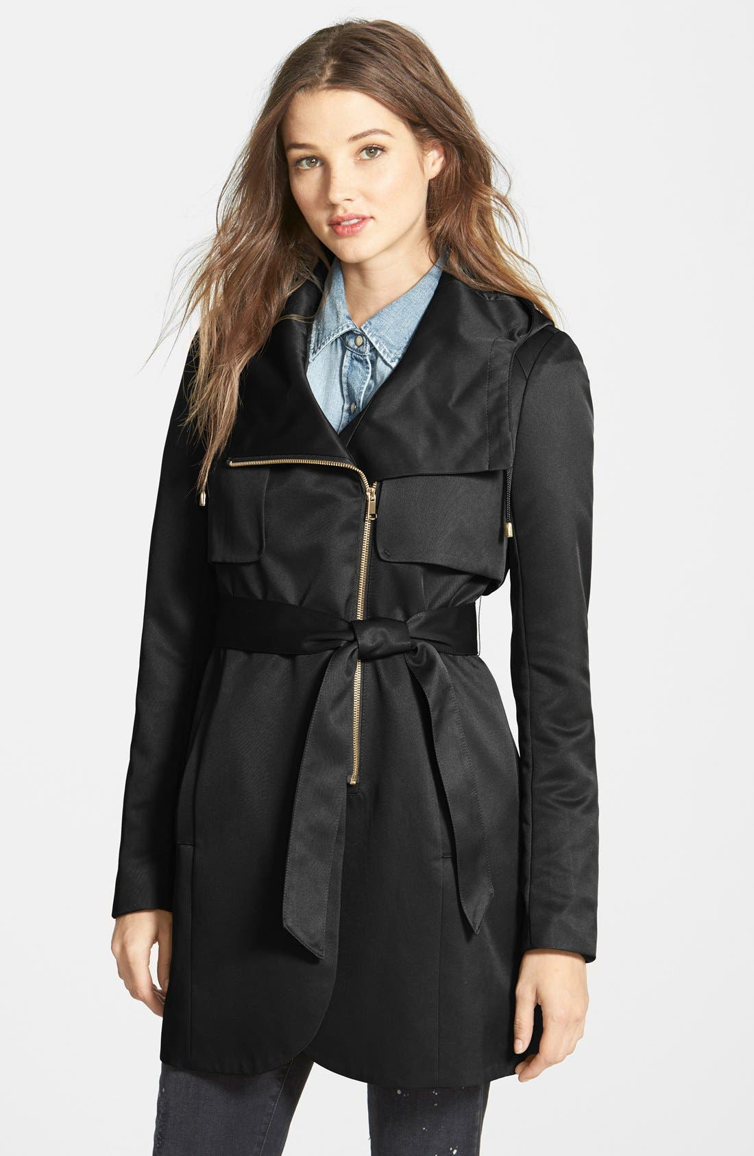 Main Image - French Connection Tulip Hem Hooded Raincoat (Online Only)