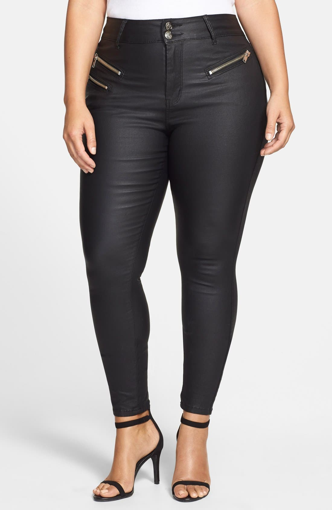 Alternate Image 1 Selected - City Chic 'Wet Look' Stretch Skinny Jeans (Black) (Plus Size)