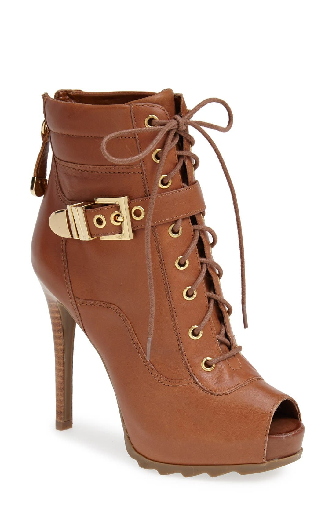 Alternate Image 1 Selected - GUESS 'Bieinda' Peep Toe Lace-Up Bootie (Women)