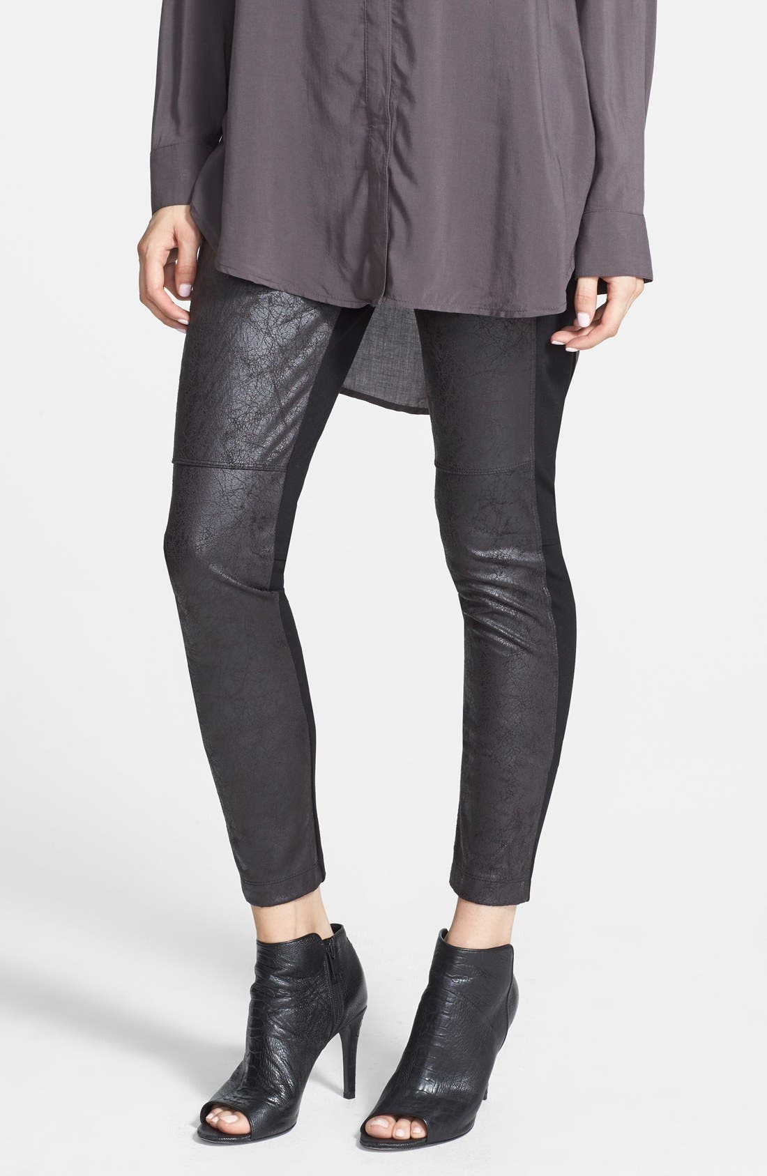 'Rue' Faux Leather & Ponte Knit Leggings,                             Main thumbnail 1, color,                             Black
