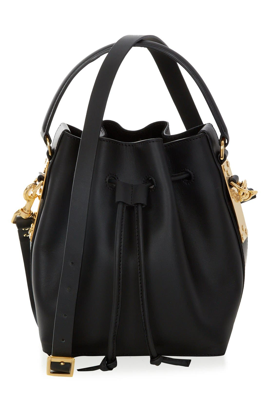 'Small' Drawstring Leather Shoulder Bag,                             Main thumbnail 1, color,                             Black