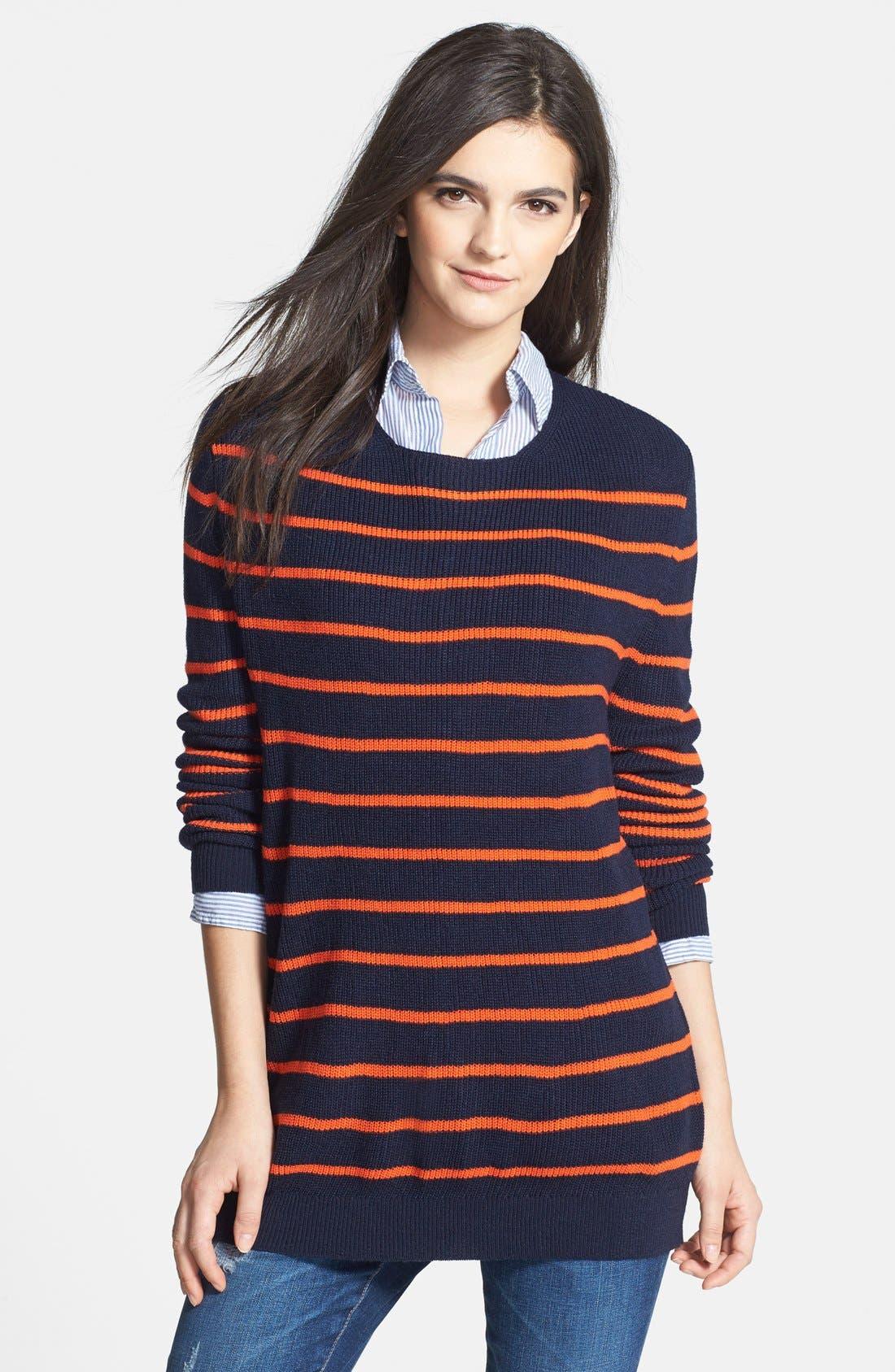 Treasure&Bond Oversize Stripe Tunic,                             Main thumbnail 1, color,                             Orange Cherry Morgan Stripe