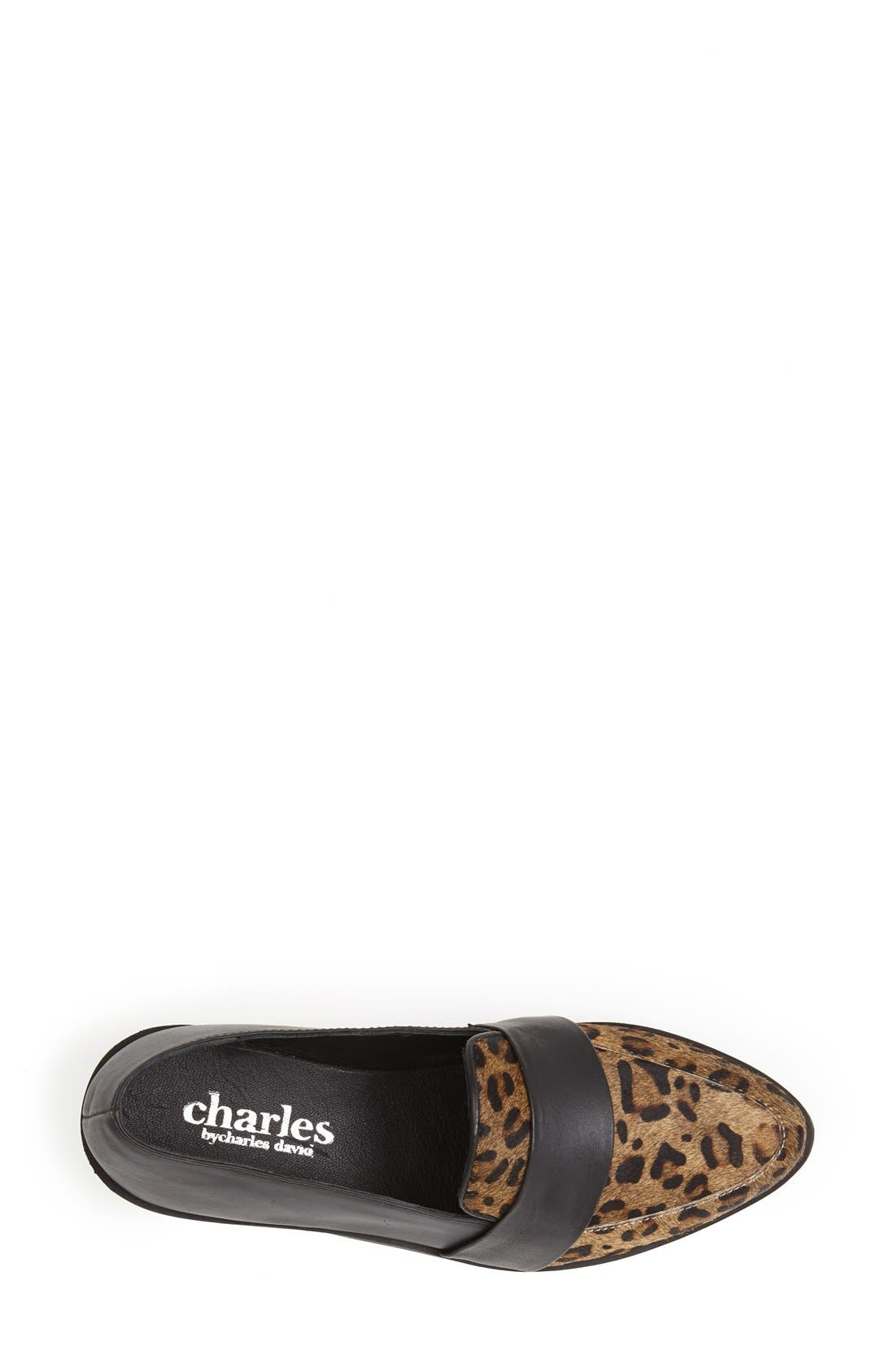 'Baha' Calf Hair and Leather Loafer,                             Alternate thumbnail 3, color,                             Black Leopard