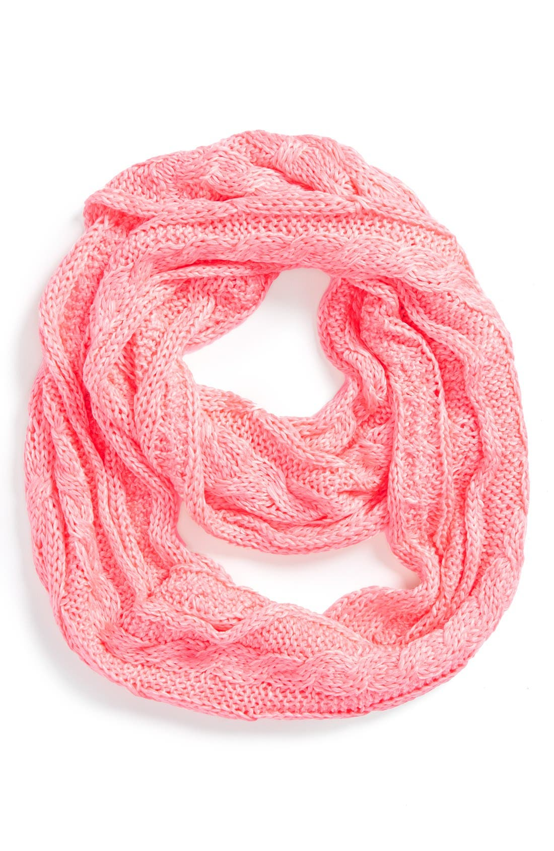 Neon Cable Knit Scarf,                         Main,                         color, Neon Pink Twist