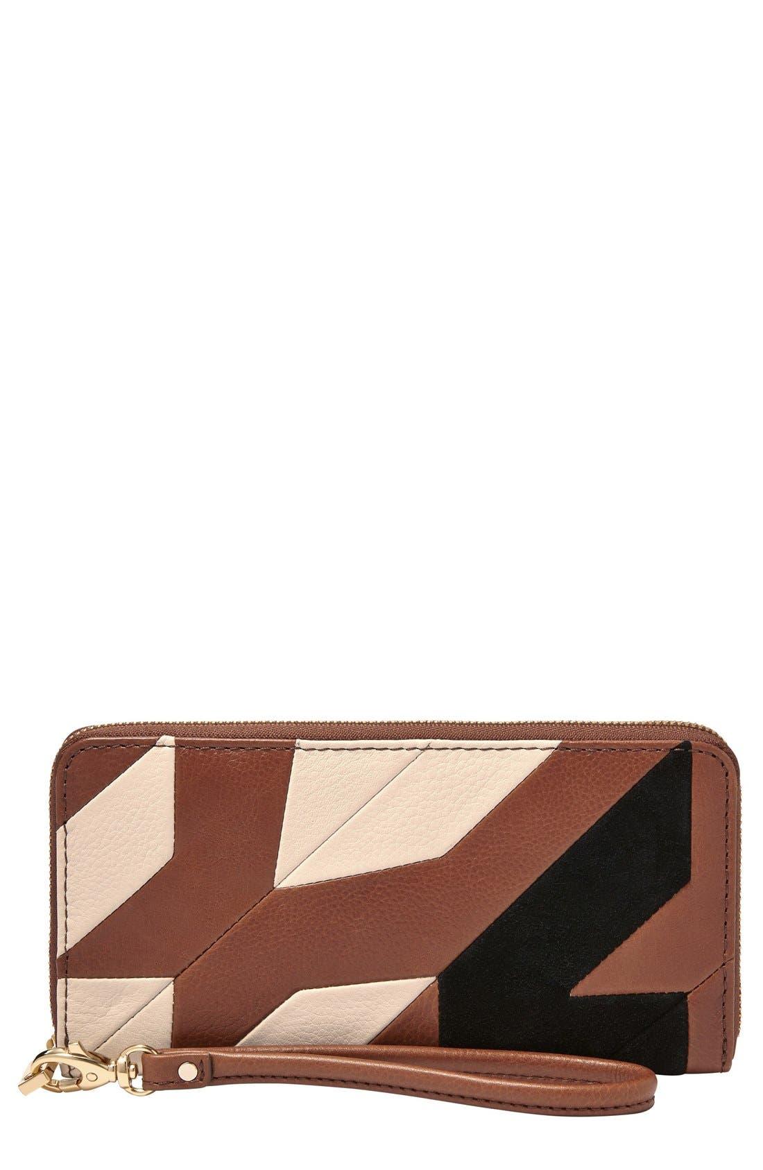 Main Image - Fossil 'Sydney' Colorblock Zip Clutch Wallet