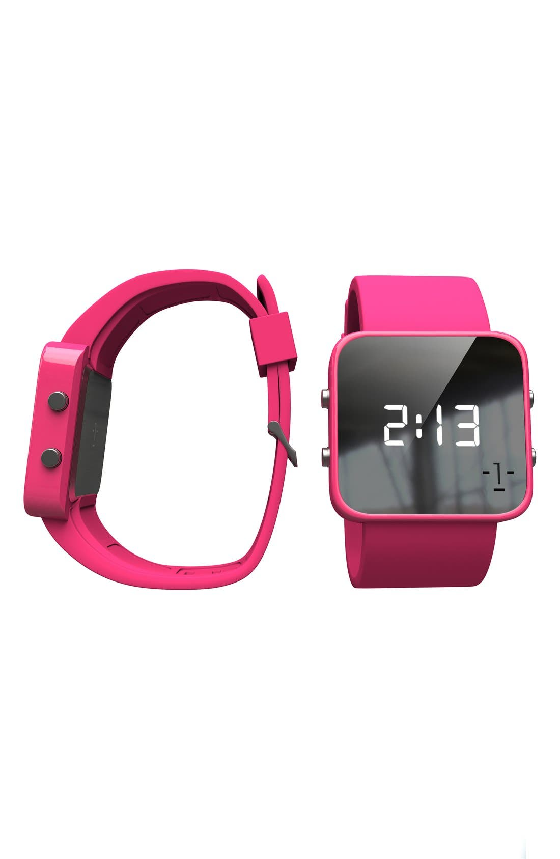 Alternate Image 8  - 1:Face 'Breast Cancer' Square Digital Silicone Strap Watch, 38mm