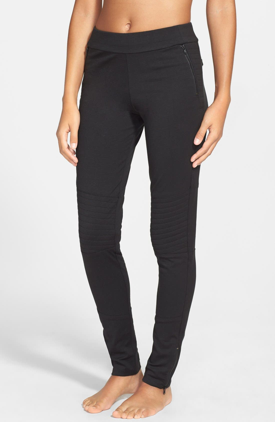 Alternate Image 1 Selected - X by Gottex Quilted Panel Ponte Leggings