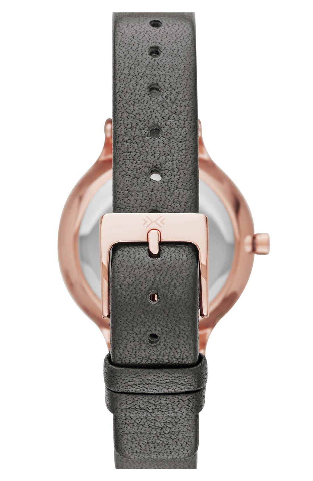 Alternate Image 2  - Skagen 'Anita' Crystal Index Leather Strap Watch, 30mm
