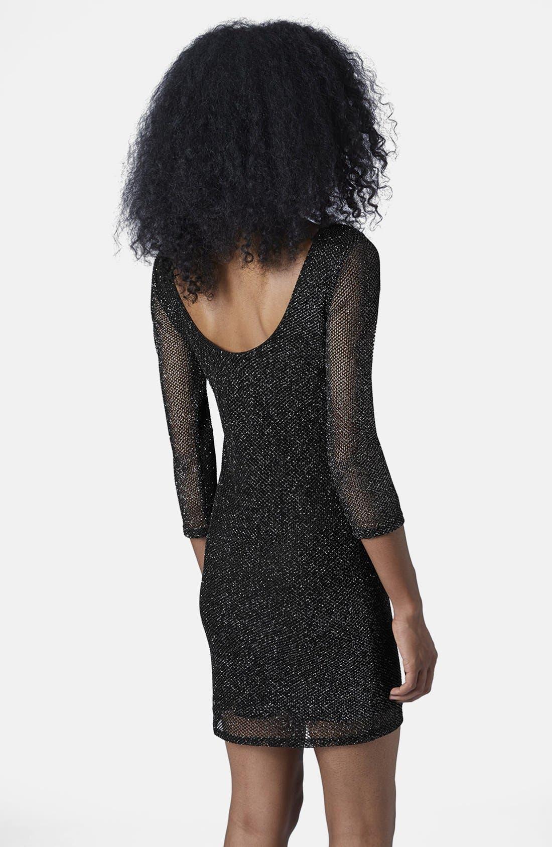 Alternate Image 2  - Topshop Glitter Mesh Body-Con Dress
