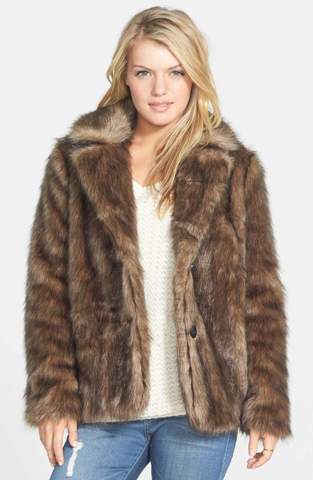 Alternate Image 1 Selected - Frenchi Faux Fur Jacket (Juniors)