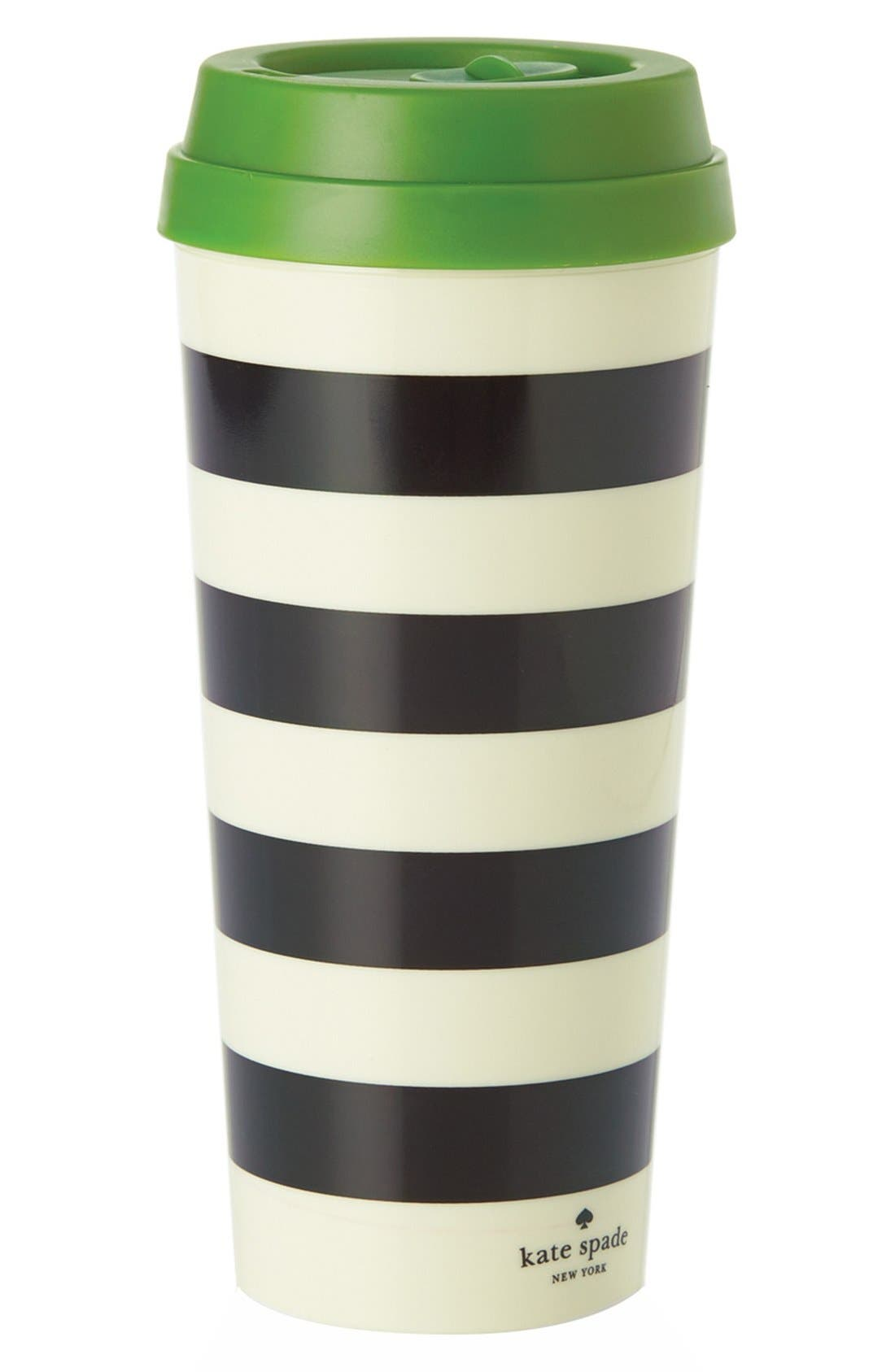 Alternate Image 1 Selected - kate spade new york stripe thermal travel mug