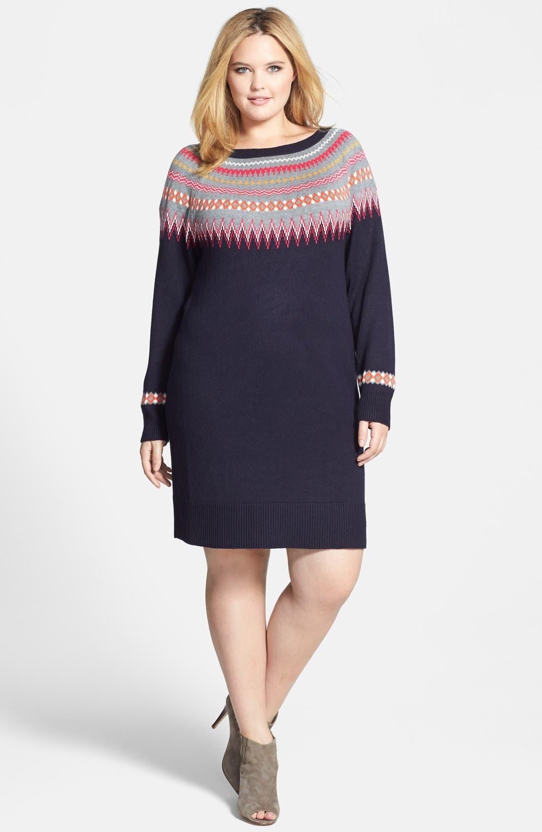 Eliza J Fair Isle Sweater Dress (Plus Size) | Nordstrom