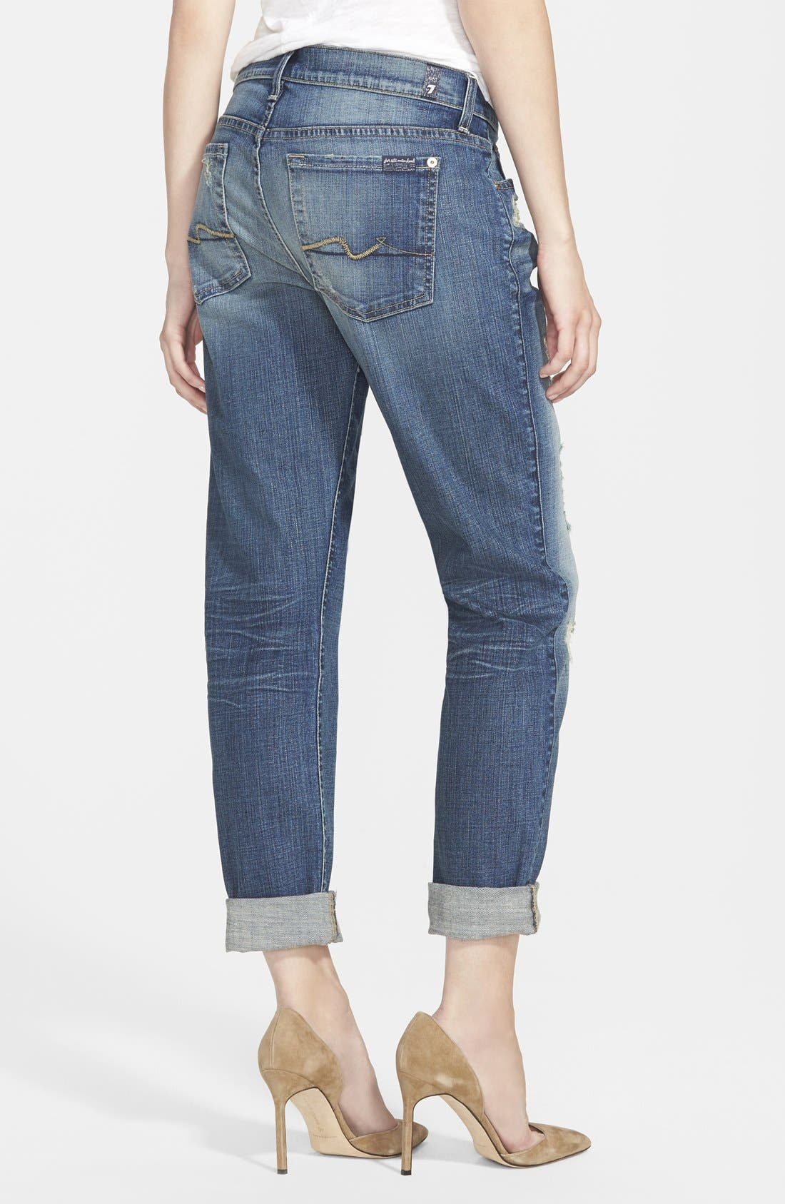 Alternate Image 2  - 7 For All Mankind® 'Josefina' Boyfriend Jeans (Dusty Vintage Blue)