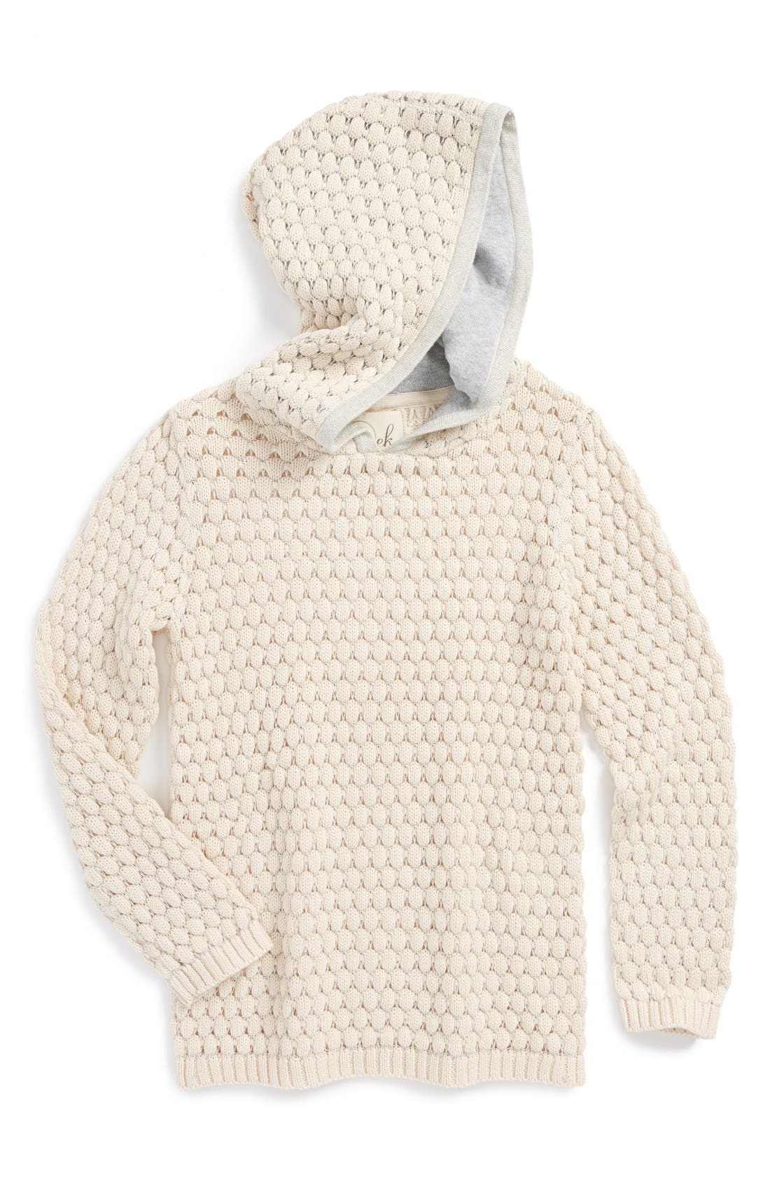 Main Image - Peek 'Gia' Metallic Loose Knit Hoodie (Baby Girls)