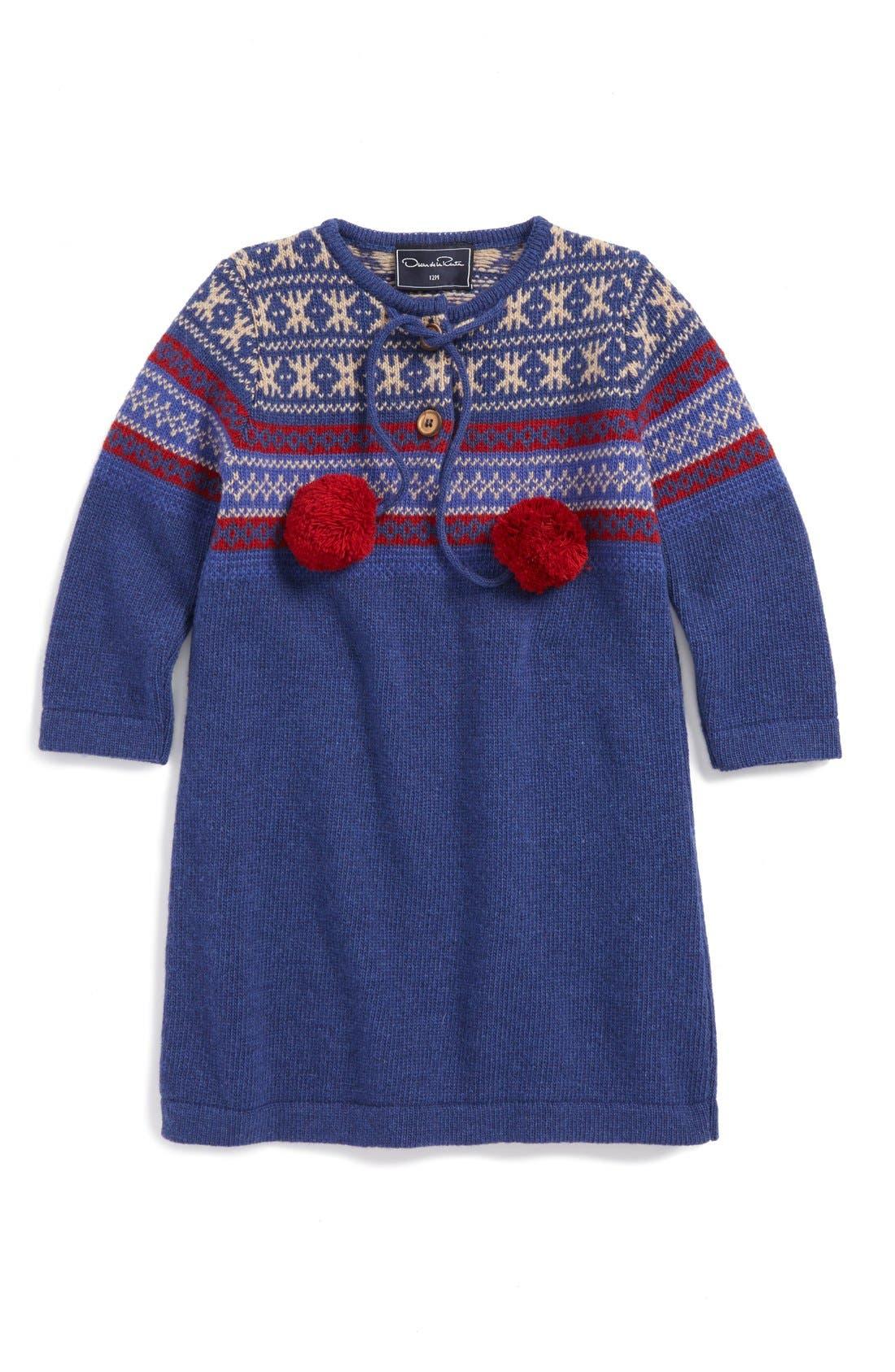 Oscar de la Renta Fair Isle Virgin Wool Sweater Dress (Baby Girls ...
