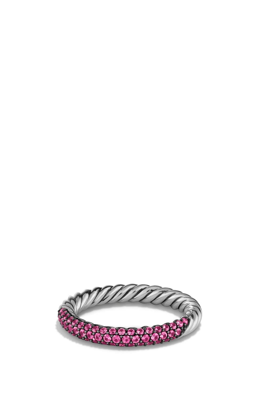 'Petite Pavé' Ring with Sapphires,                             Main thumbnail 1, color,                             Pink Saphire