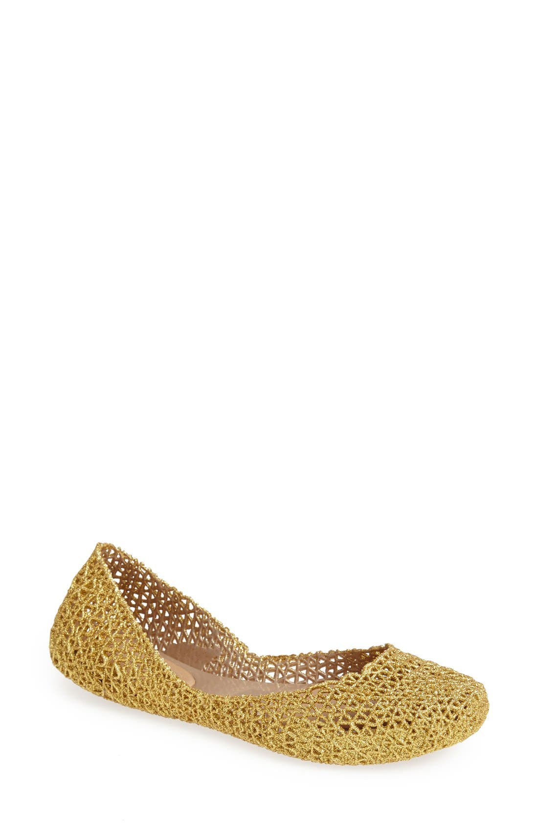 'Campana Papel Vii' Jelly Flat in Gold Glitter