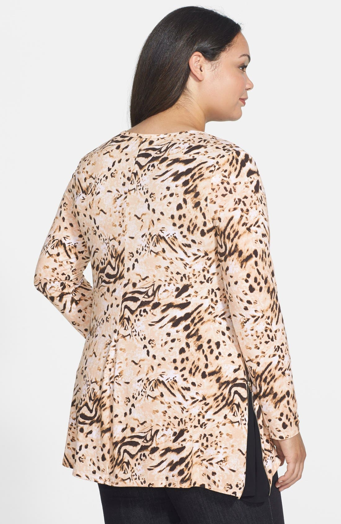 Side Zip Long Sleeve Top,                             Alternate thumbnail 2, color,                             Luxe Animal