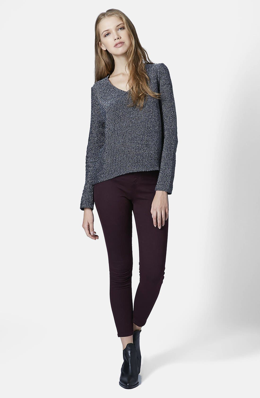 Alternate Image 5  - Topshop Moto 'Joni' High Rise Skinny Jeans (Purple) (Petite)