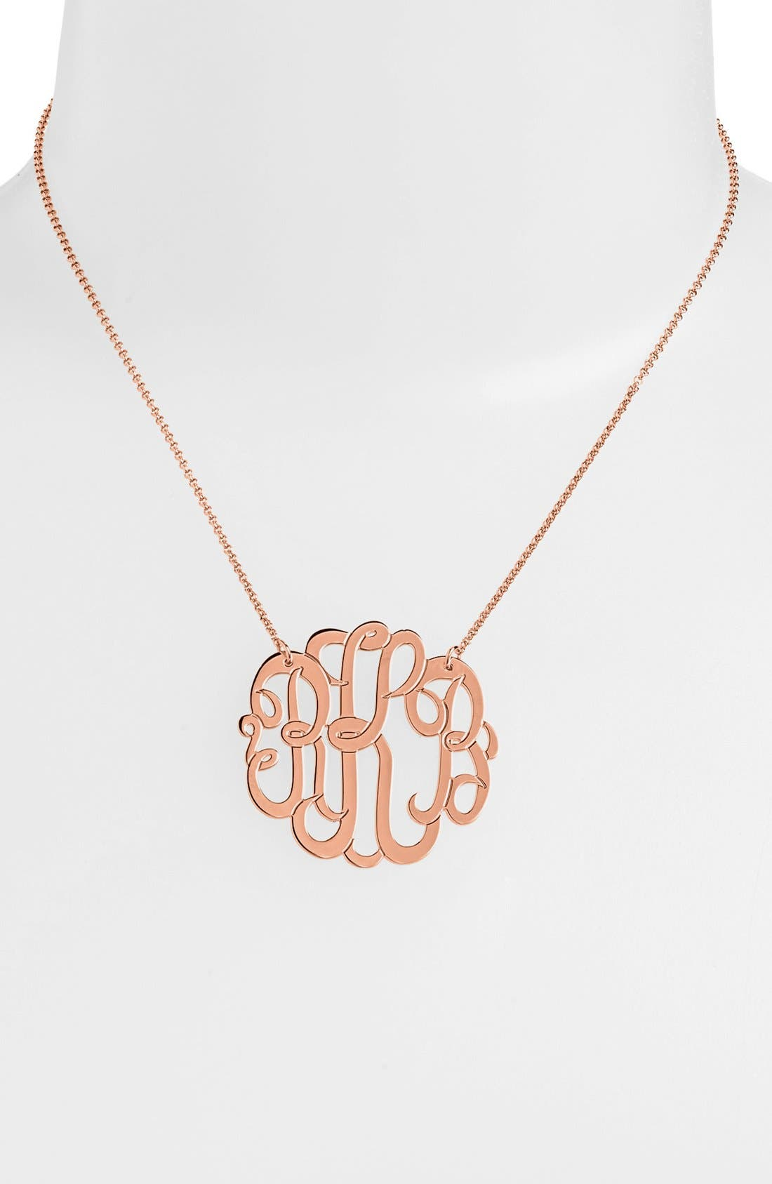 Personalized Large 3-Initial Letter Monogram Necklace,                             Main thumbnail 1, color,                             Rose Gold