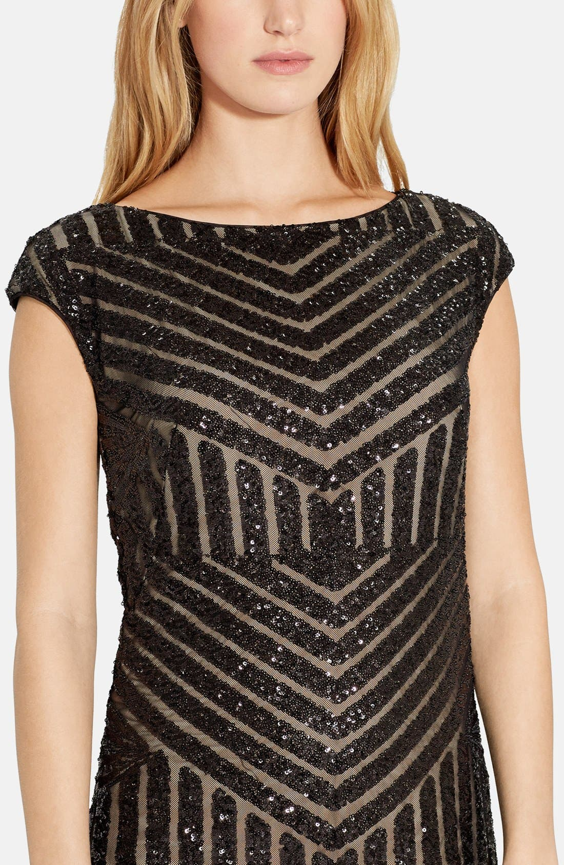 Geo Sequin Sheath Dress,                             Alternate thumbnail 3, color,                             Black