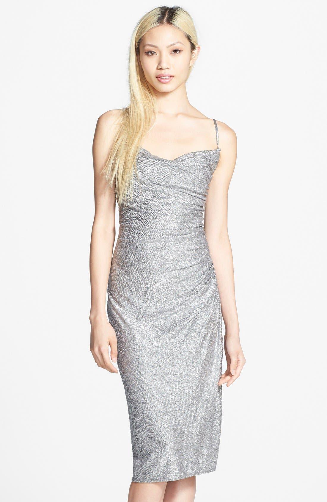 Metallic Shirred Dress,                         Main,                         color, Silver