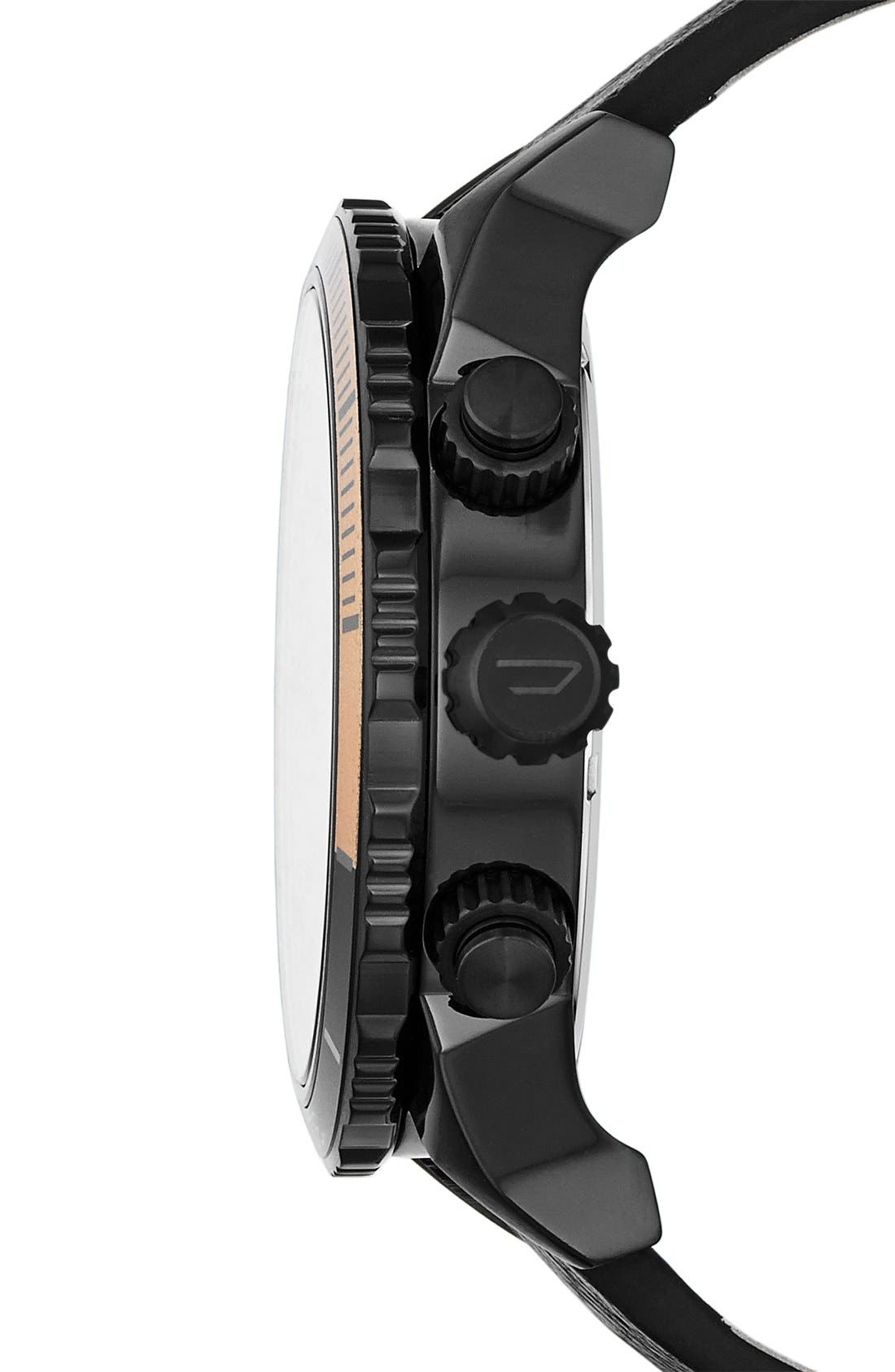 Alternate Image 3  - DIESEL® 'Double Down 2.0' Chronograph Leather Strap Watch, 48mm