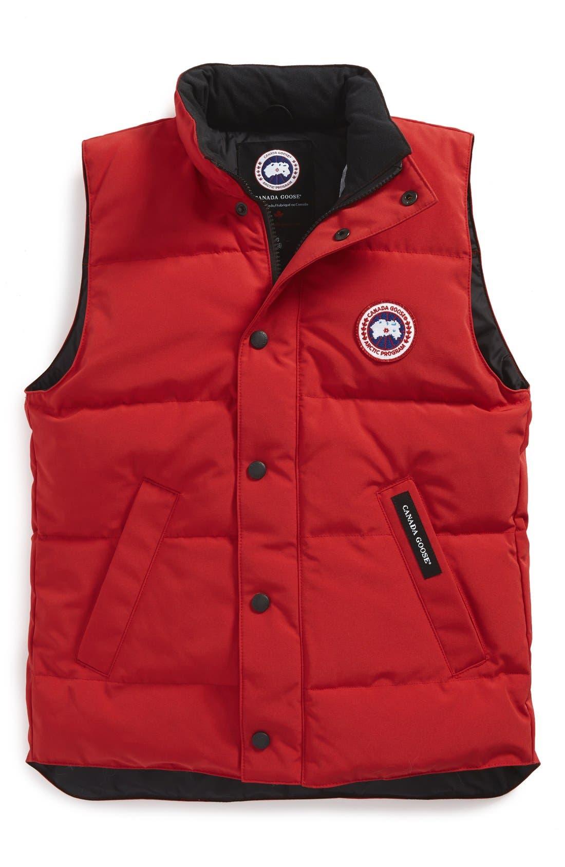 'Vanier' Down Vest,                         Main,                         color, Red