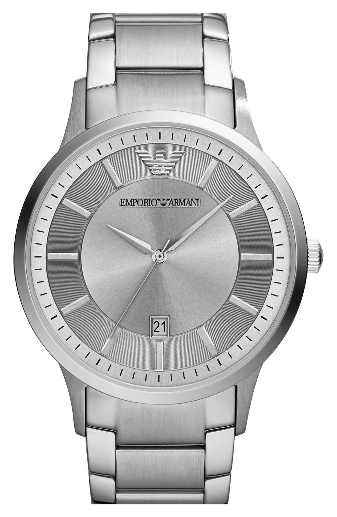 Round Bracelet Watch, 43mm,                         Main,                         color, Silver