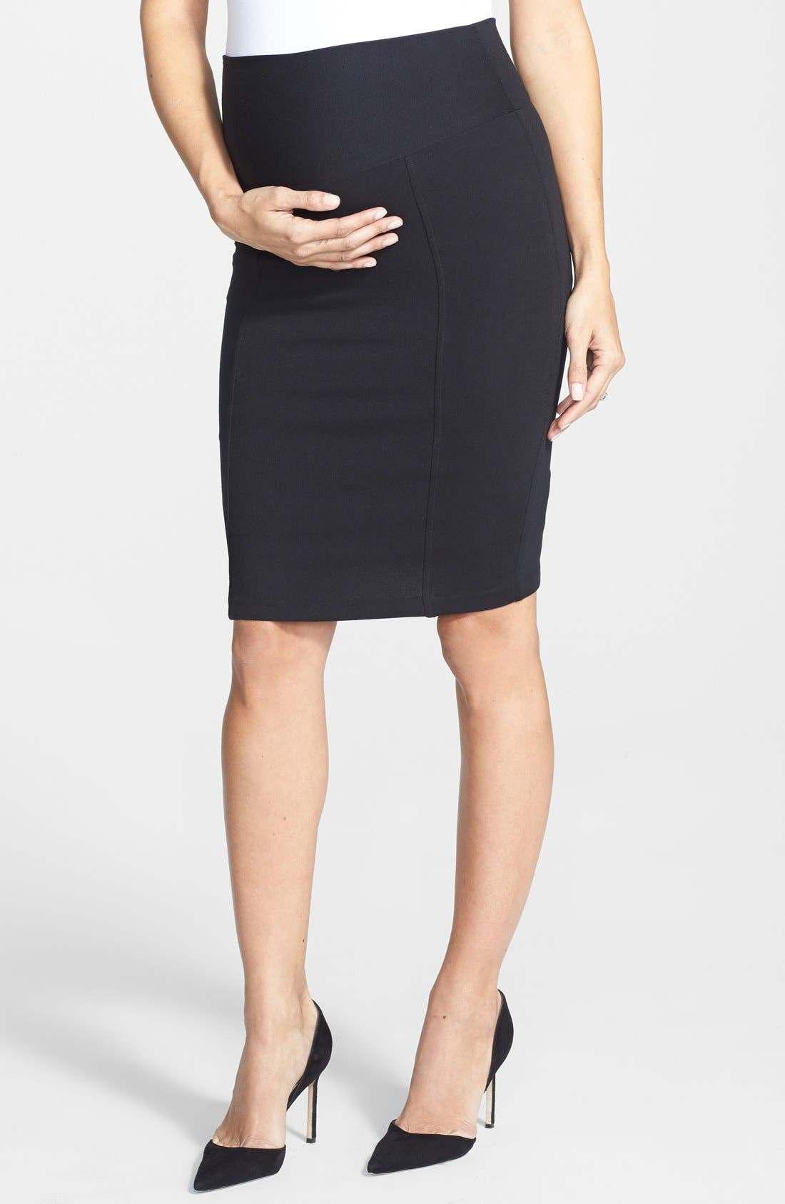 Alternate Image 1 Selected - Eva Alexander London Tailored Ponte Knit Maternity Pencil Skirt