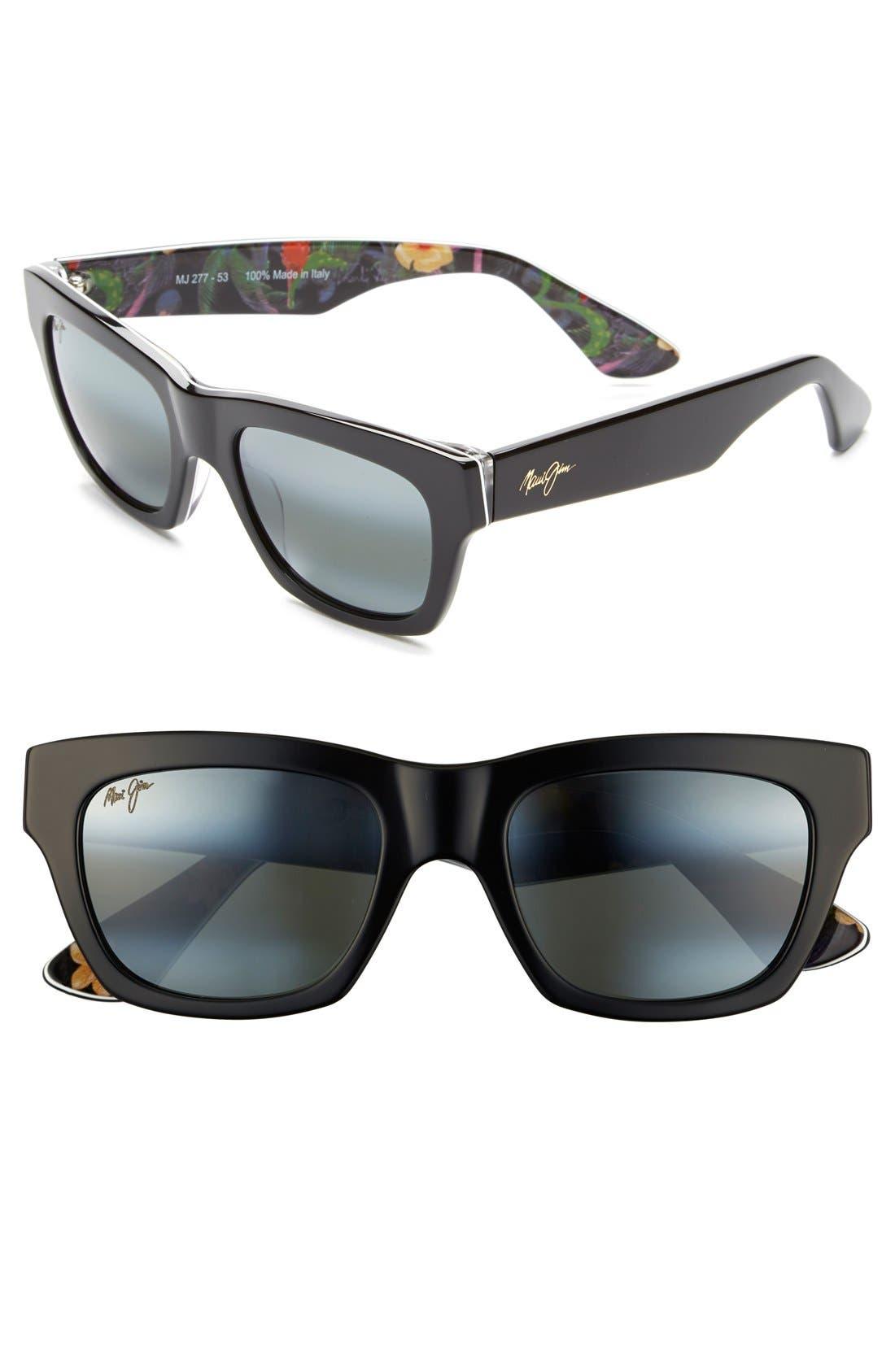 You Move Me 52mm PolarizedPlus2<sup>®</sup> Sunglasses,                         Main,                         color, Black/ White/ Silk
