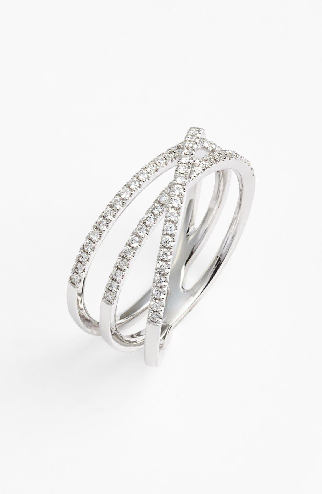 Crossover Three-Row Diamond Ring,                         Main,                         color, White Gold