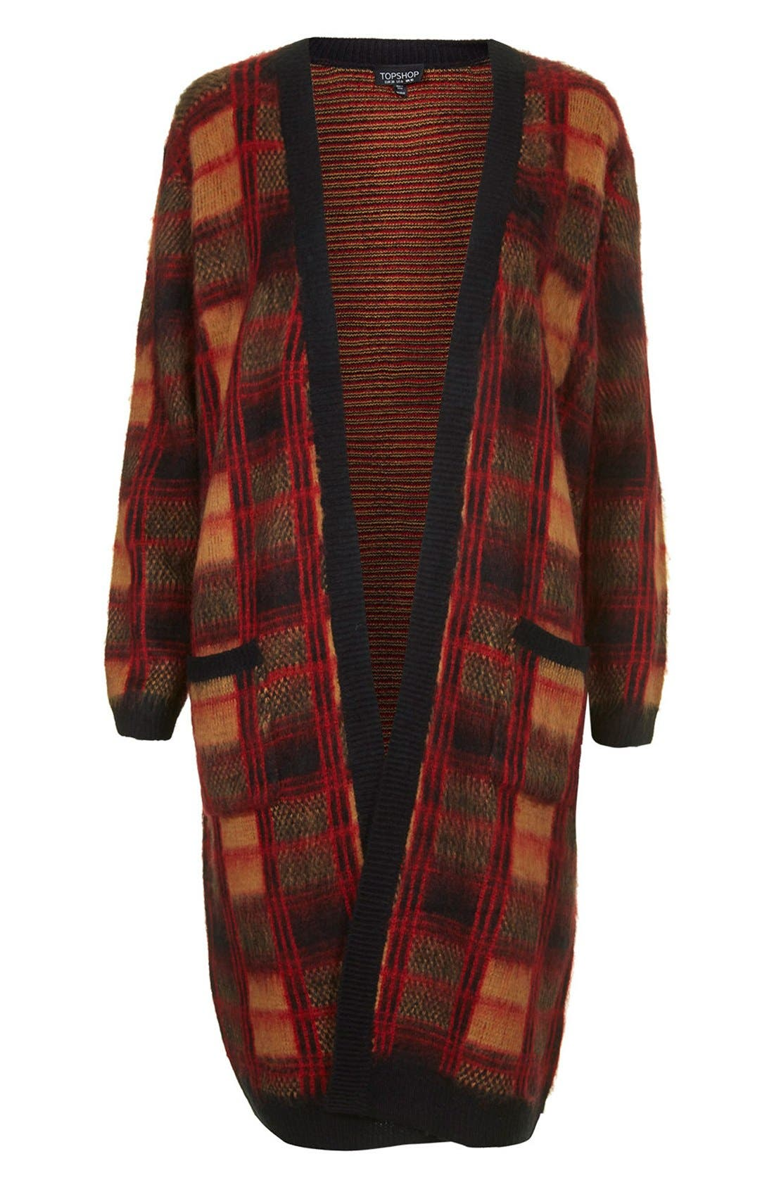 Alternate Image 3  - Topshop Brushed Check Long Cardigan