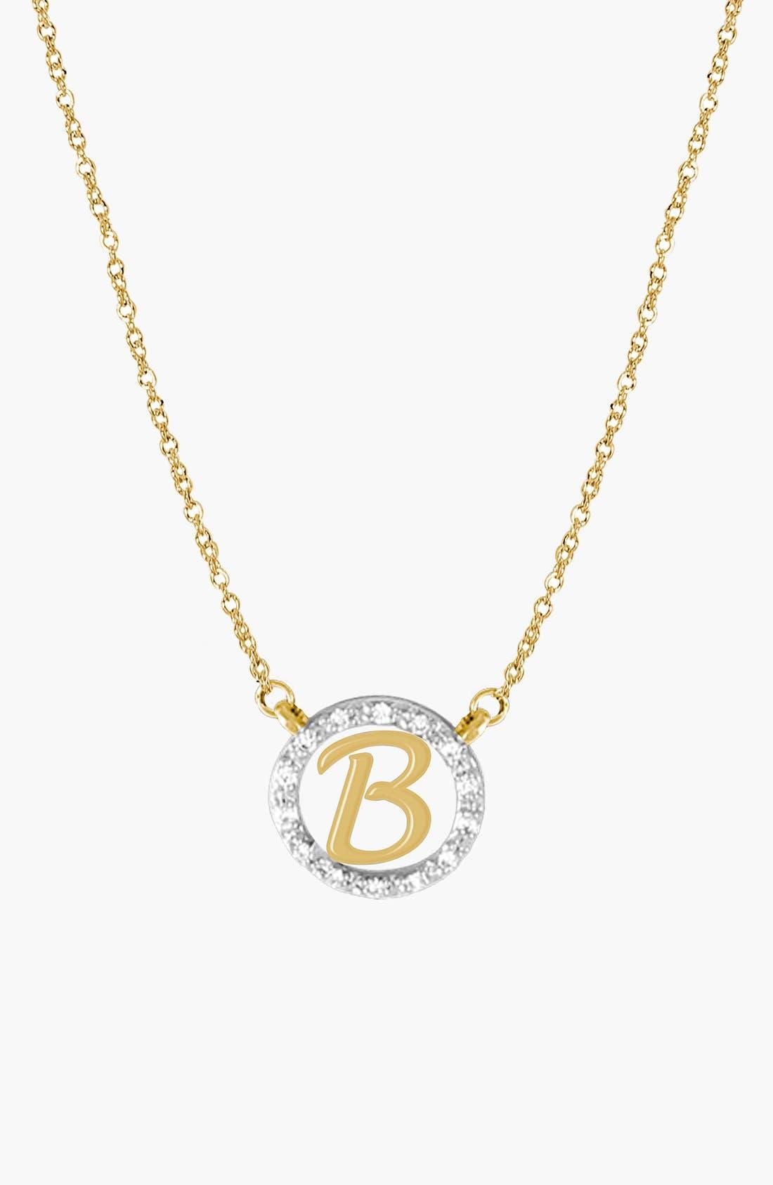 Diamond Pavé Initial Pendant Necklace,                         Main,                         color, Yellow Gold - B