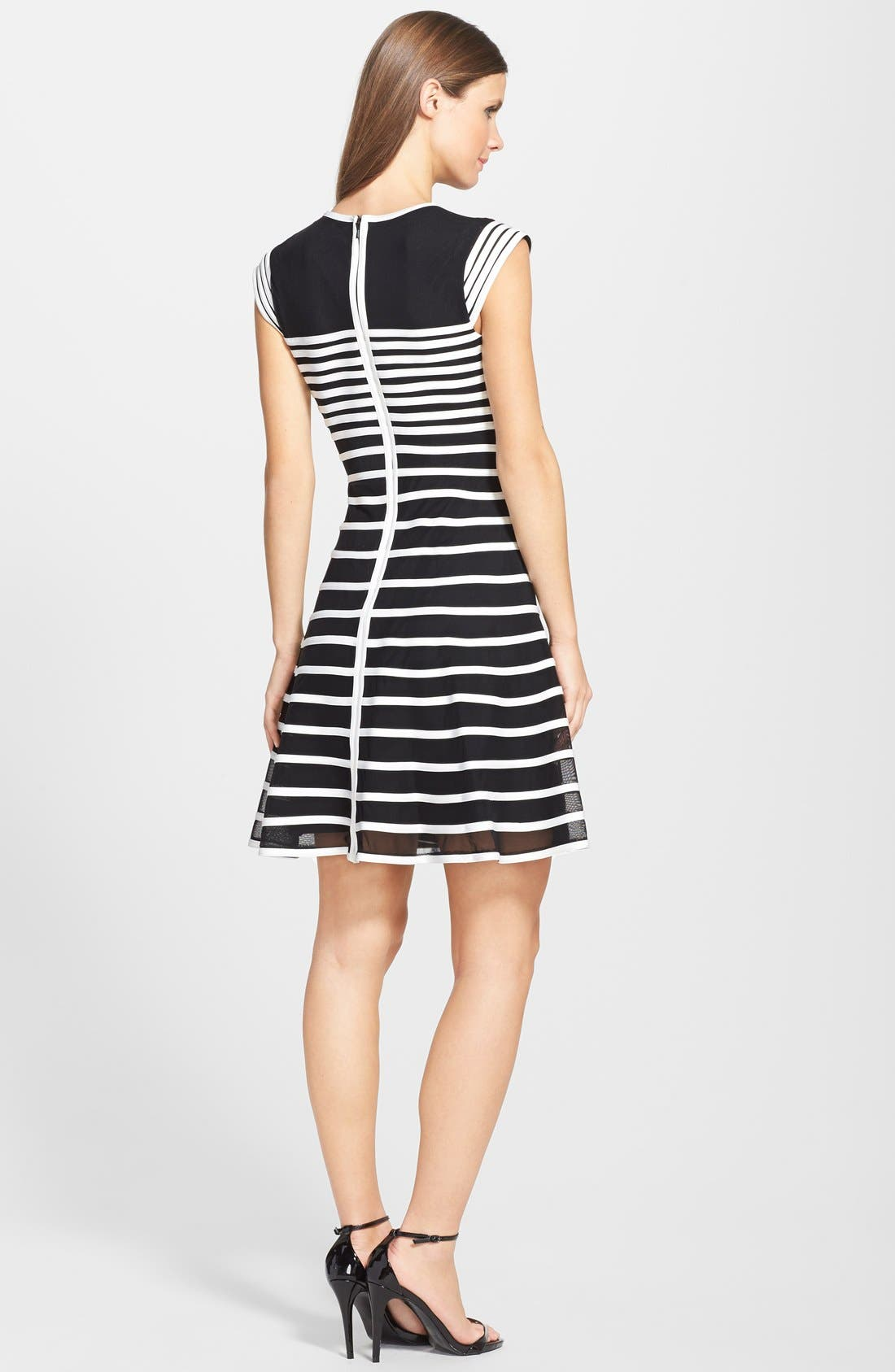 Alternate Image 2  - Betsy & Adam Stripe Mesh Fit & Flare Dress